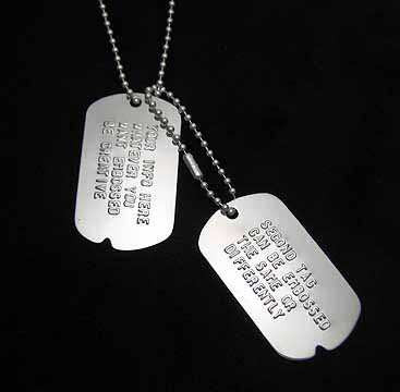 sterling silver embossed dog tags